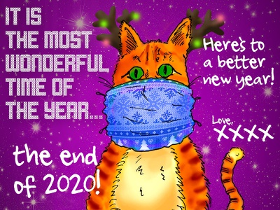 Happy Holidays! 2021 2020 colorful design christmas card happy new year 2021 holiday card greeting card feline cat character design illustration