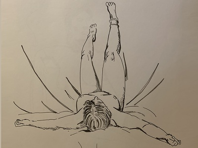 Relax minimalism line drawing human body black and white pen on paper ink drawing drawing lying female body figure drawing