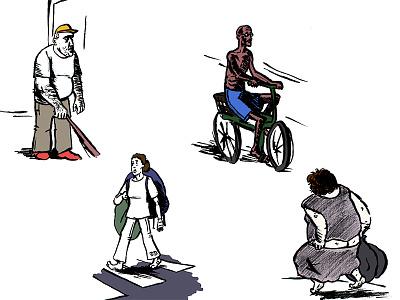 Strangers on the Street urban city street people photoshop cartoon digital art character design illustration