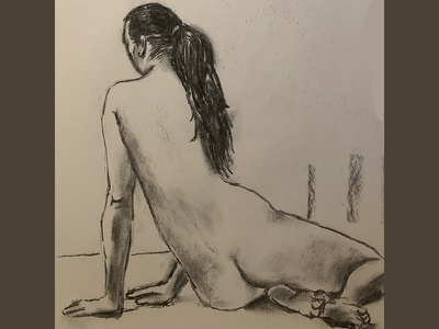 Restful livefiguredrawing contrast charcoal nyc art femalenude charcoaldrawing drawing black and white art