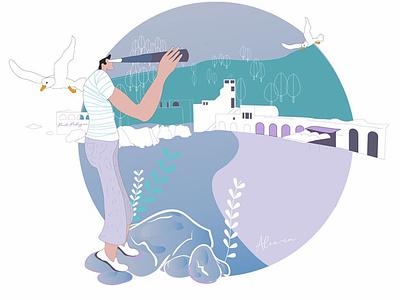 Looking at the Sea - Pelegrí ui character design draw minimal illustration