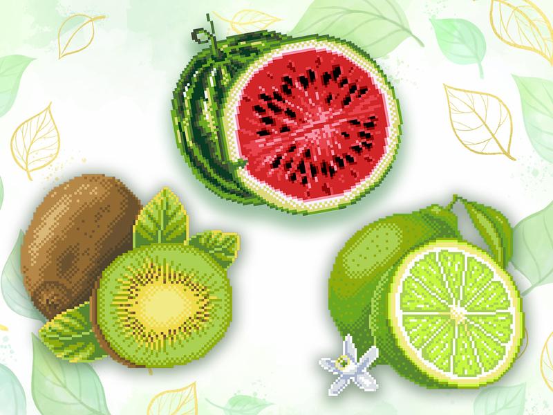 embroidery design lime kiwi watermelon design embroidery design pixelart illustration embroidery
