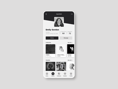 Daily UI 006 • User profile user profile profile page profile music greyscale discogs black and white dailyui 006 application app sketch clean interface flat design dailyui ui design ui flat design