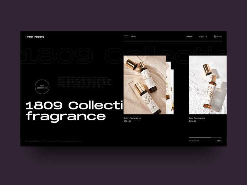 Fragrance Collection wellness website web ux ui typogaphy minimal fragrance flat design dark daily clean beauty app