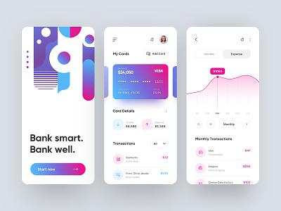 Banking App android iphone gradient smart banking bank typography mobile illustration branding app web design dailyui design ux ui
