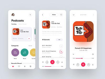 Podcast App - Light typogaphy light product design music player play news podcast music music app typography web design dailyui branding app design ux ui illustration mobile
