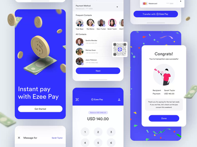 Mobile Payment & Wallet App ui ux design android ios after effects minimal typography interactive microinteraction peer to peer payment wallet product design mobile animation app web illustration