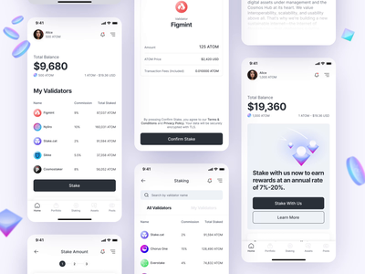 Cosmos Blockchain - ATOM Staking App exchange wallet token staking minimal mobile animation atom bitcoin cosmos blockchain app web design dailyui design ux ui