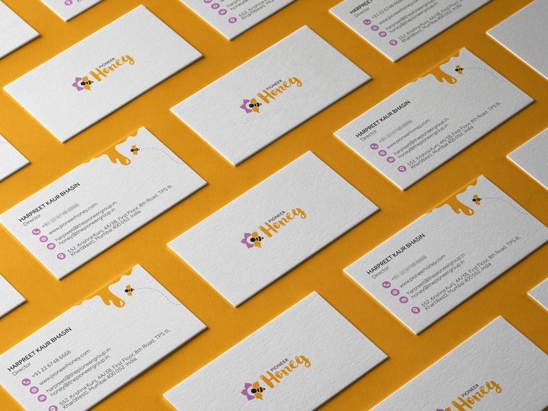 PIONEER HONEY : Business Card mockup stationery business card typogaphy logo inspiration logo concept visual identity brand identity branding logotype logodesign logo honeybee honey