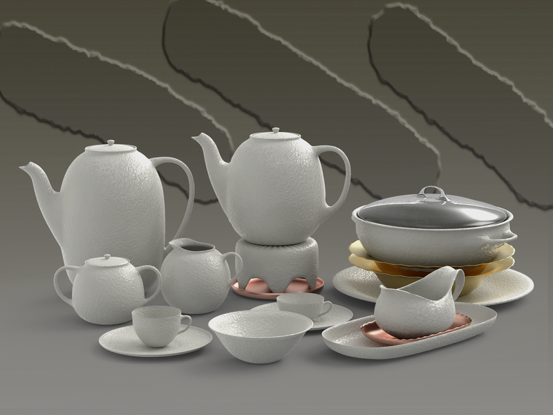 Crockery design illustration 3d models