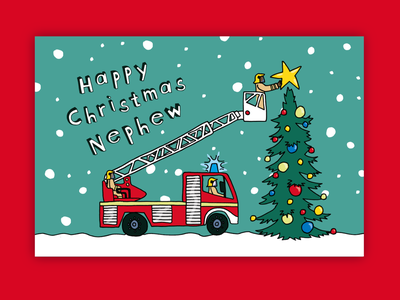 Kids Christmas Cards firefighter vehicle digger snow children children book illustration childrens illustration christmas card christmas stationery greeting card illustration hand drawn