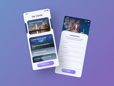 Business Card Mobile App business card mobile app app ui ux