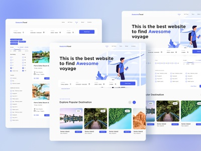 Travel Booking Service Website: Main Page + Catalogue voyage hotel traveling tours travel agency reservation trip planner vacation tourism booking trip travel booking trips adventure web ux ui awesometravel