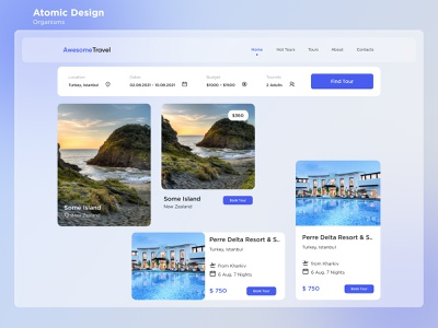Travel Booking Service: Atomic Design/Organisms Page tours traveling travel agency trip planner reservation vacation tourism trips booking trip booking hotel web travel atomic design for awesometravel design ux ui