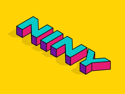 Isometric Text bold font type design typography