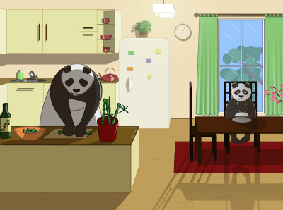 Family time son mom hobbies quarantine hobby lockdown inside family cooking kitchen panda vector illustration vector design animal illustration