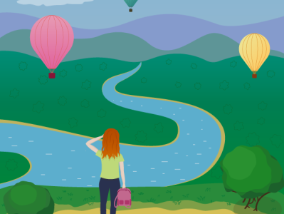 Hot Air Balloon Festival view girl hot air ballon hotairballoon festival vector illustration vector illustration