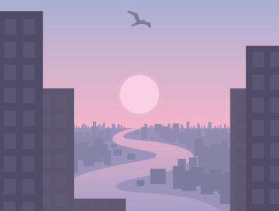 Sunrise in the city river seagull bird dawn sunrise sun cityscape city illustration city vector illustration vector illustration