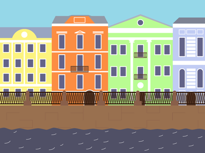 Saint Petersburg river flat city house building design vector illustration vector illustration