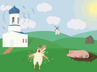 In the village morning summer mill rooster pig church rural village building animal vector illustration vector illustration