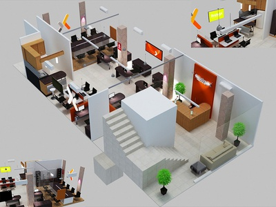 Office Layout 3dsmax 3d design office space office office design