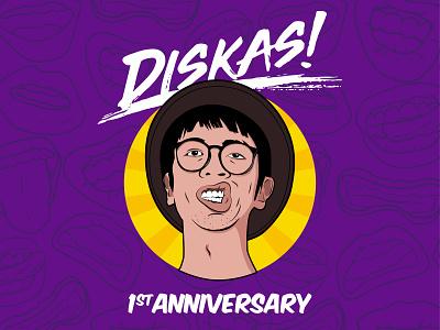 Diskas 1st anniversary artwork graphic design vector design illustration