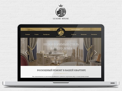 gold and white website design