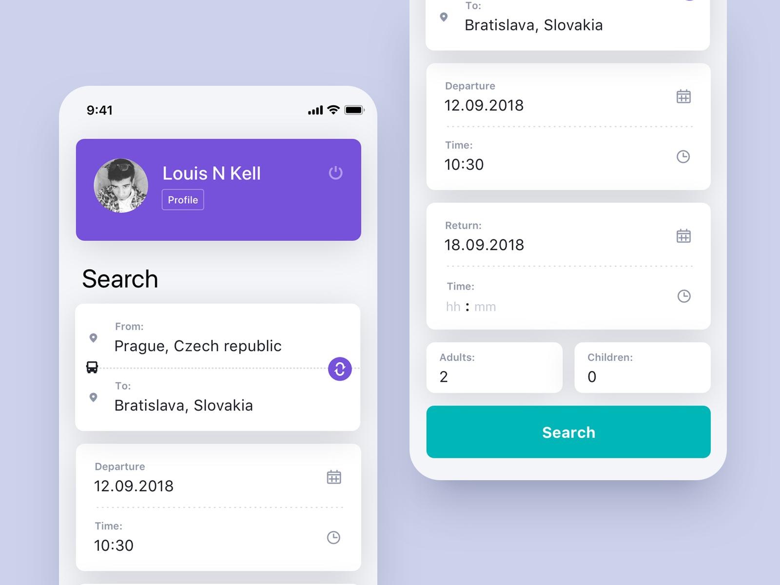 Bus App interfaces ui designers ux designer ui designer web designer minimal clean purple app concept iphone x ios application ui application app