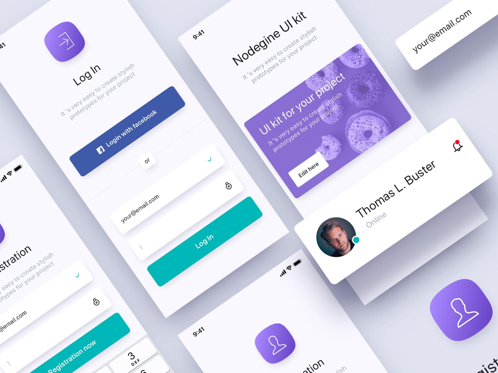 Nodegine design clean ui mobile user interface app dashboard ui kits ux design ui  ux design ui kit nodegine app