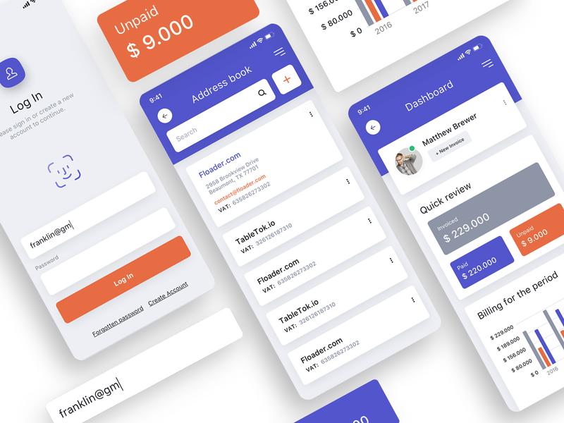 Invocing App billing app apps application mobile app ui  ux kit design uikit user interfaces app invoicing