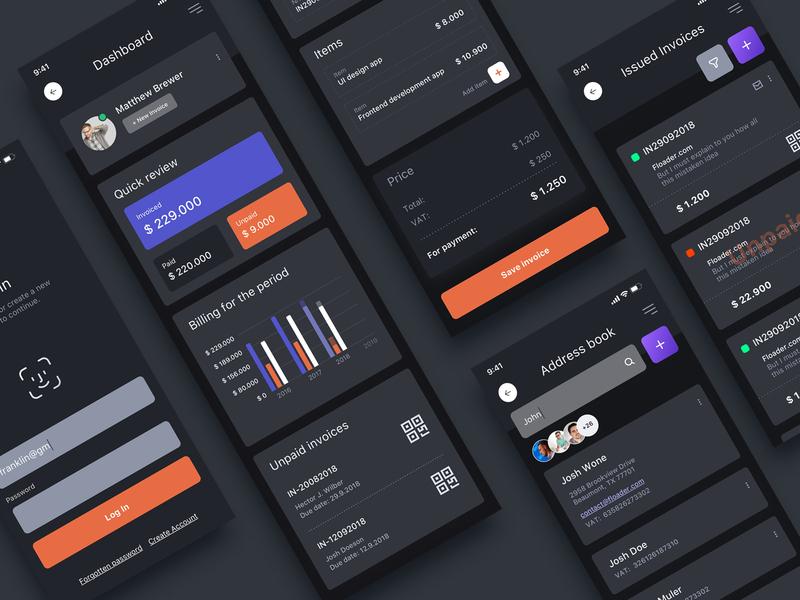 Nodegine Ui Kit Dark clean userinterface ux design kit ui invoices billing app concept application mobile uidesign ui kit nodegine