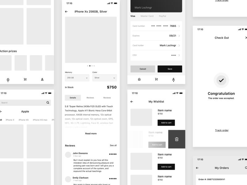 Mobile Shop Wireframe by Marek Leschinger on Dribbble