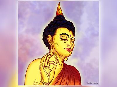 Graphic-Painting tharaka mahesh lord buddha graphic design design