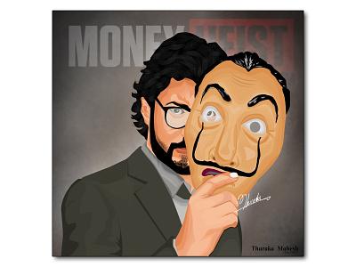 El Professor Money Heist design money bag elprofessor professor casadepapel bellaciao lacasadepapel money illustration vector tharaka mahesh