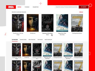 IMDB Reimagined - Conceptual Design trailers serials ui flat movies filter design concept imdb