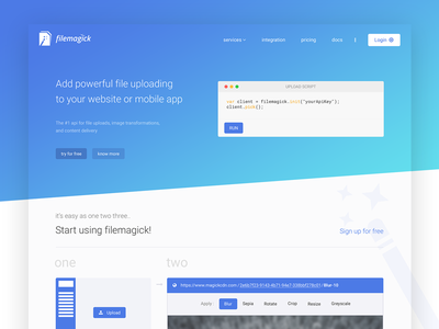 Filemagick -- WIP platform delivery content system file web design wip modern ui design gradient clean