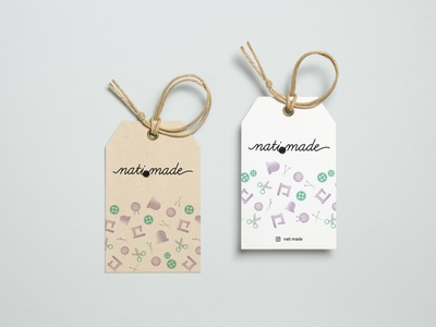 nati.made logo, icons and pattern knitting mockup typography icons icon pattern design tag pattern branding logo design