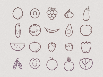 Fruits And Veggies Icon Set outline vegetable veggie fruit veggies icons icon vegetables fruits