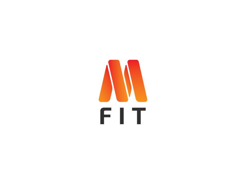 M Fit letter m red orange movement elastic fitness