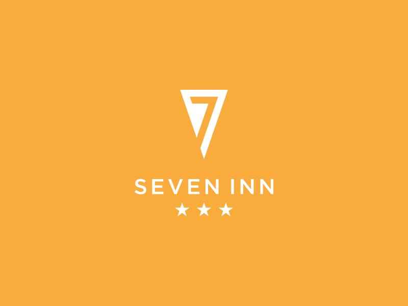 SevenInn negative space triangle hotel yellow logo inn seven