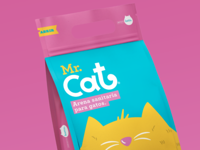 Mr. Cat / Cat litter color palette graphicdesigns pink logo cat cat package design illustration branding brand graphicdesign behance project typography animation logo
