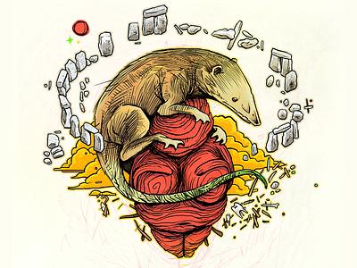 Hadrocodium paleontology ink illustration