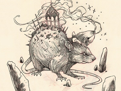Wharf Rat pencil sketch rodent rat illustration ink wip