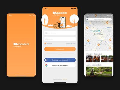 BA Ecobici, App Concept orange español logo illutrator vector graphic design
