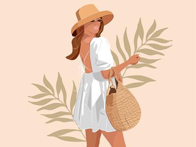 Summer girl minimalism minimal summer digital digitalart minimalistic vectorart girl design adobe dribbble vector art illustration adobe illustrator