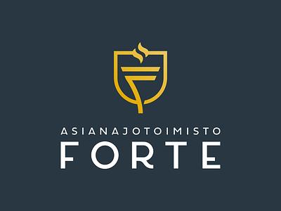 Asianajotoimisto Forte Logo f letter torch attorney lawyer law design logo identity branding