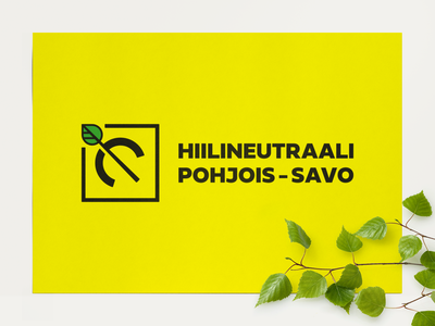 Hiilineutraali Pohjois-Savo Logo black and yellow design leaf environment carbon neutrality logo identity branding