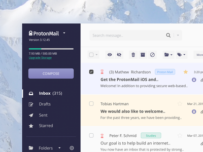 ProtonMail - Interface Design dashboard web digital uikit mailbox app concept inteface email webmail ux ui