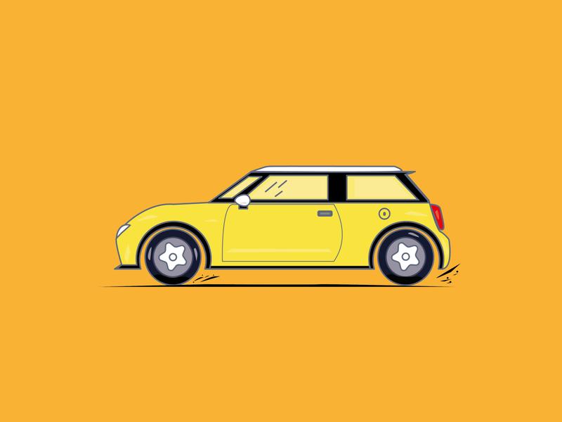mini cooper freelanced design minicooper car designflat illustration