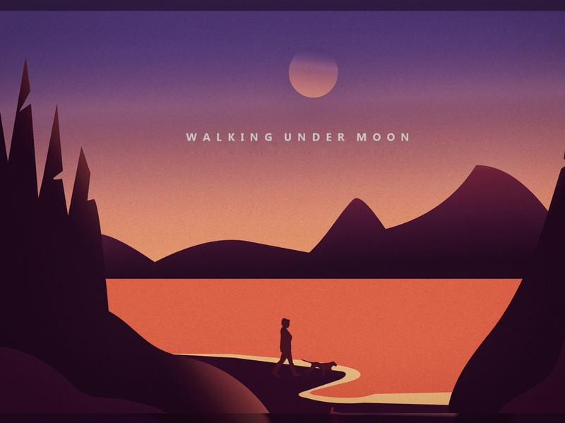 Walking Under Moon ux art illustration illustrator vector typography minimal design